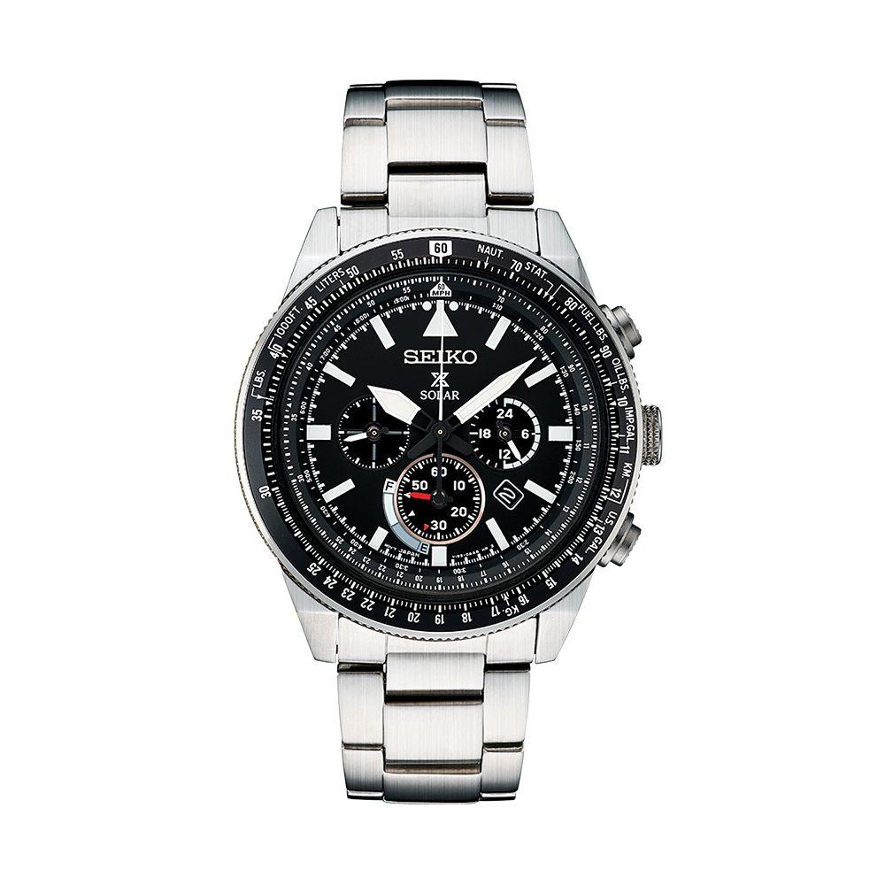 db2d9bc09 Seiko Men's Prospex Stainless Steel Solar Aviator Watch - SSC629