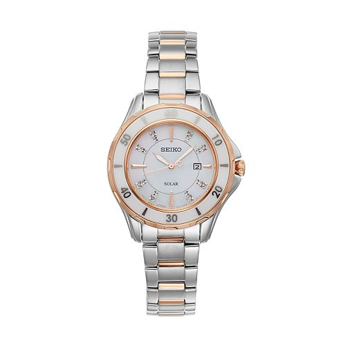 Seiko Women's Diamond & Ceramic Two Tone Solar Watch - SUT340