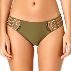 Juniors' California Sunshine Embroidered Hipster Bikini Bottoms