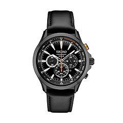 Seiko Men's Leather Chronograph Solar Watch - SSC639