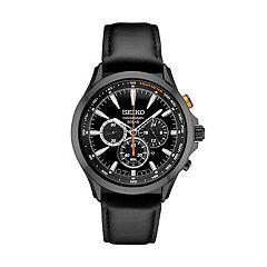 Seiko Men's Leather Chronograph Solar Watch - SSC639