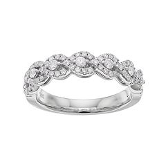 14k White Gold 1/2 Carat T.W. Diamond Wavy Wedding Ring