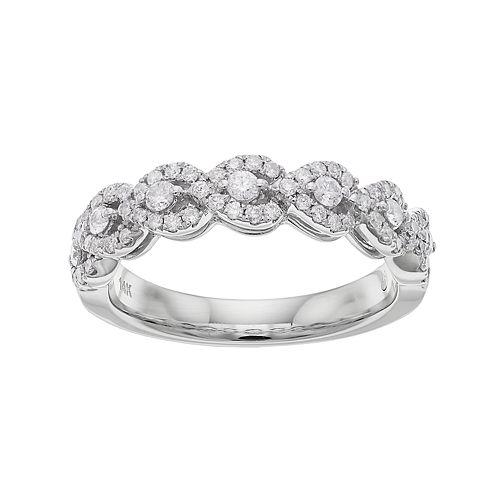 14k White Gold 1/2 Carat T.W. Diamond Wavy Wedding Ring