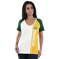Women's Majestic Green Bay Packers Colorblock Tee