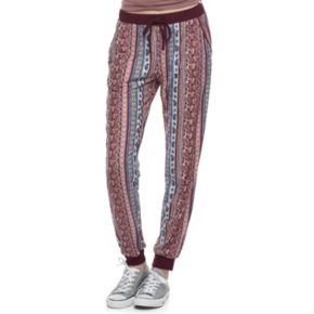Juniors' Pink Republic Print Jogger Pants