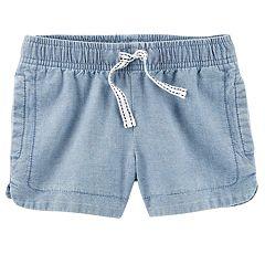 Girls 4-8 Carter's Chambray Side-Split Shorts