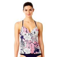 Women's Cole of California D-cup Floral Crochet Tankini Top