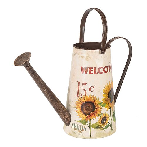 Gerson white indoor outdoor decorative farmhouse watering can