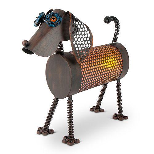 gerson solar powered light up industrial dog garden decor