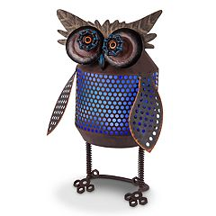 Gerson Solar Powered Light-Up Industrial Owl Garden Decor