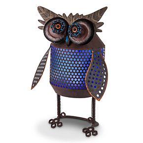 gerson solar powered light up industrial owl garden decor