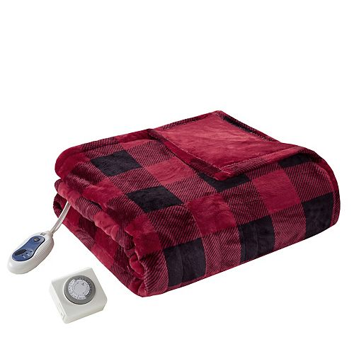 True North by Sleep Philosophy Buffalo Check Oversized Plush Heated Throw