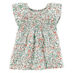 Girls 4-8 Carter's Smocked Floral Top