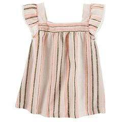 Girls 4-8 Carter's Linen Stripe Flutter Sleeve Tee