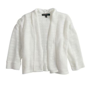 Girls 7-16 My Michelle Open Weave Cuffed Cardigan Sweater