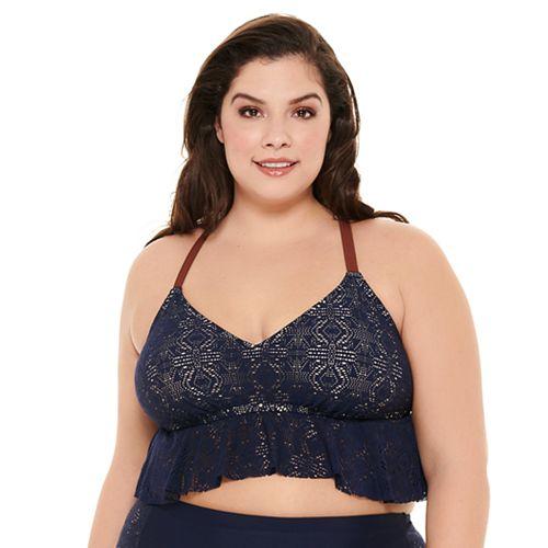 Plus Size Costa Del Sol Crochet Swim Crop Top