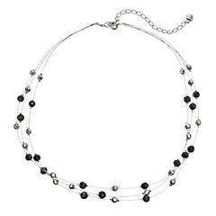 wearable ART Black Beaded Multi Strand Necklace