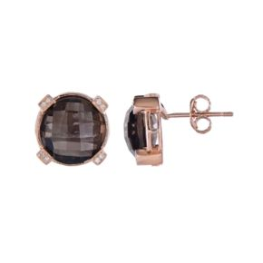 Rose Gold Tone Sterling Silver Smoky Quartz & Diamond Accent Stud Earrings