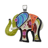 wearable ART Patchwork Elephant Pendant