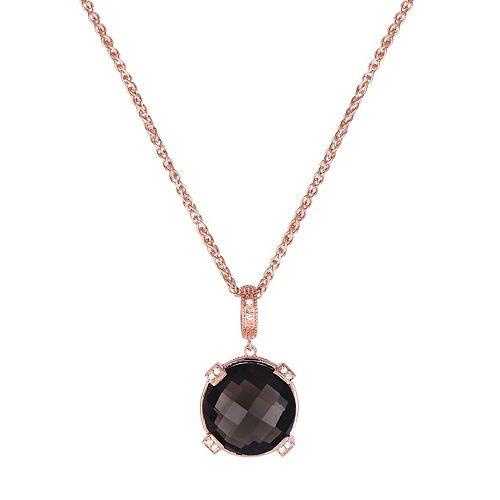 Rose Gold Tone Sterling Silver Smoky Quartz & Diamond Accent Pendant