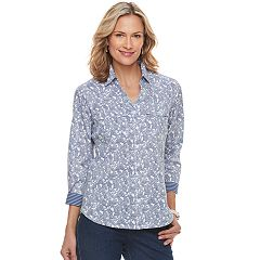 Women's Croft & Barrow® Paisley Knit-to-Fit Shirt