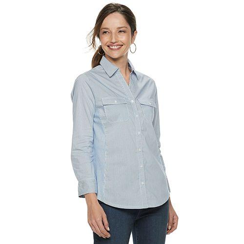 Women's Croft & Barrow® Paisley Knit-to-Fit Shirt