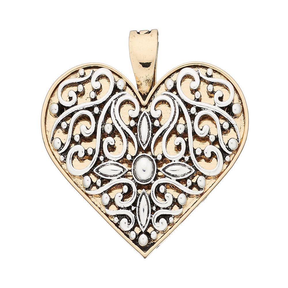 Wearable art two tone filigree heart pendant aloadofball Image collections
