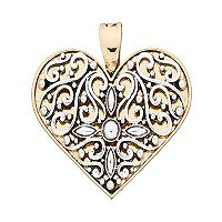 wearable ART Two Tone Filigree Heart Pendant