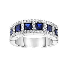 Sterling Silver Lab-Created Sapphire & Cubic Zirconia Ring