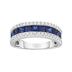 Sterling Silver Channel-Set Lab-Created Sapphire Ring