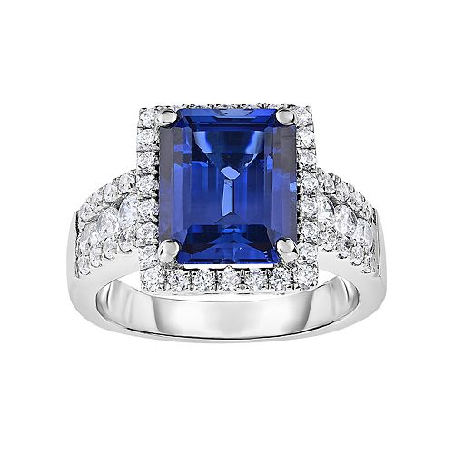 Sterling Silver Lab-Created Sapphire & Cubic Zirconia Square Halo Ring