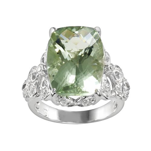 Sterling Silver Green Quartz & Cubic Zirconia Openwork Ring
