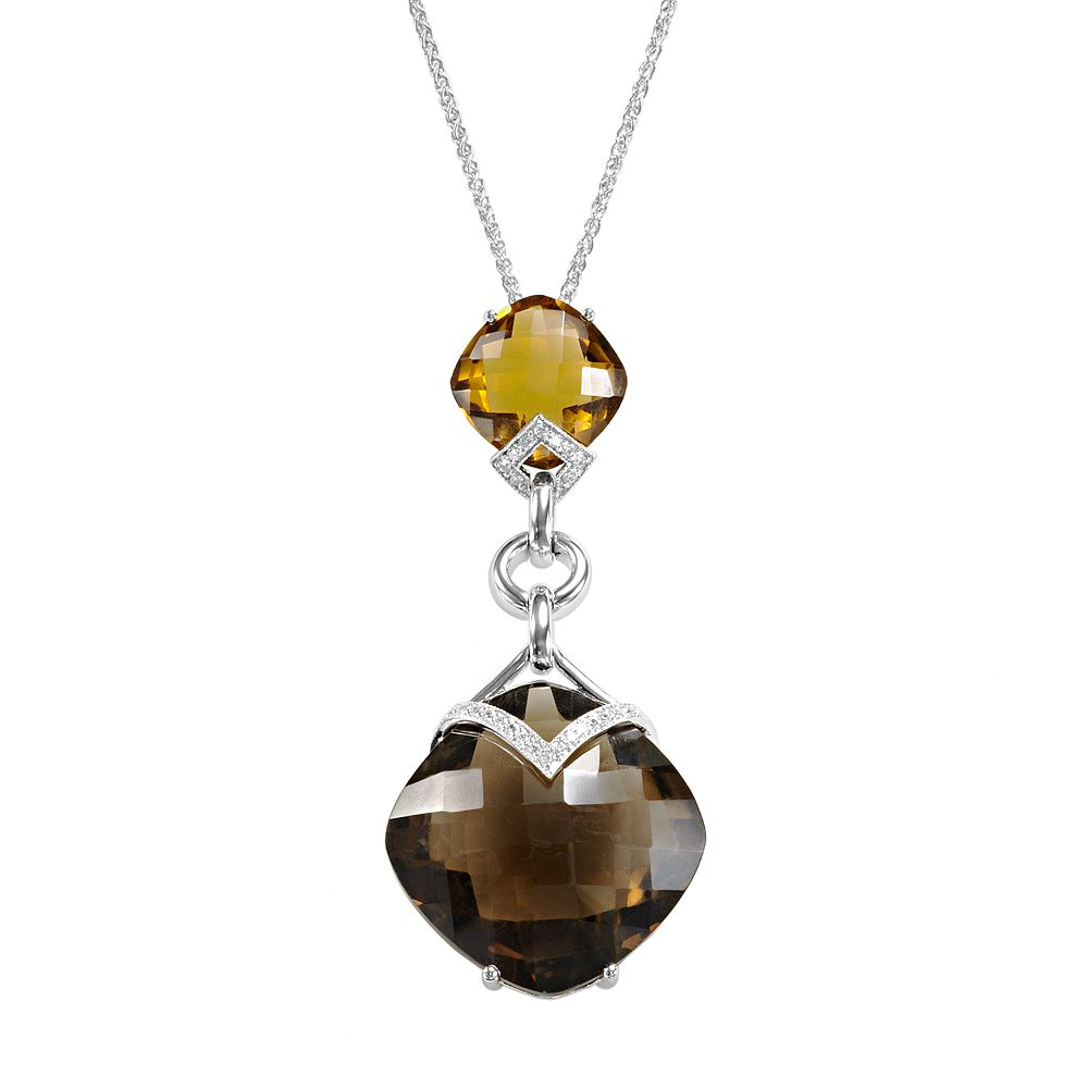 Cognac Quartz Heart Shaped Sterling Silver Pendant Necklace