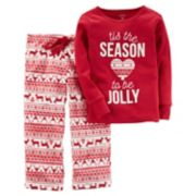 "Girls 4-14 Carter's ""Tis the Season to be Jolly"" Christmas Top & Microfleece Bottoms Pajama Set"