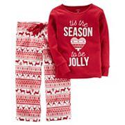 Girls 4-14 Carter's 'Tis the Season to be Jolly' Christmas Top & Microfleece Bottoms Pajama Set