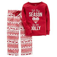 Girls 4-14 Carter's 'Tis the Season to be Jolly' Christmas Top & Microfleece Bottoms Pajama Set