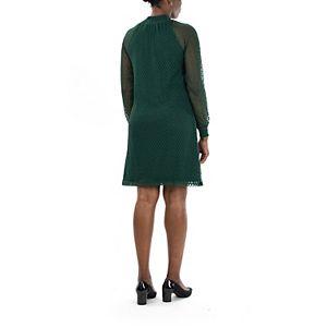 Women's Nina Leonard Lace Mockneck Trapeze Dress