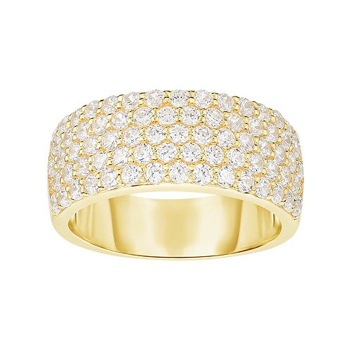 Gold Tone Sterling Silver Cubic Zirconia Pave Ring