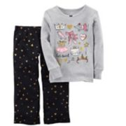 "Girls 4-14 Carter's ""Let's Twirl"" Ballet Graphic Top & Glitter Hearts Bottoms Pajama Set"