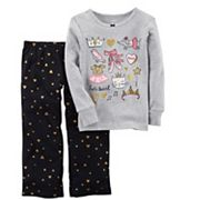 Girls 4-14 Carter's 'Let's Twirl' Ballet Graphic Top & Glitter Hearts Bottoms Pajama Set