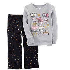 Girls 4-14 Carter's 'Let's Twirl' Ballet Graphic Top & Glitter Hearts Bottoms Pajama Set