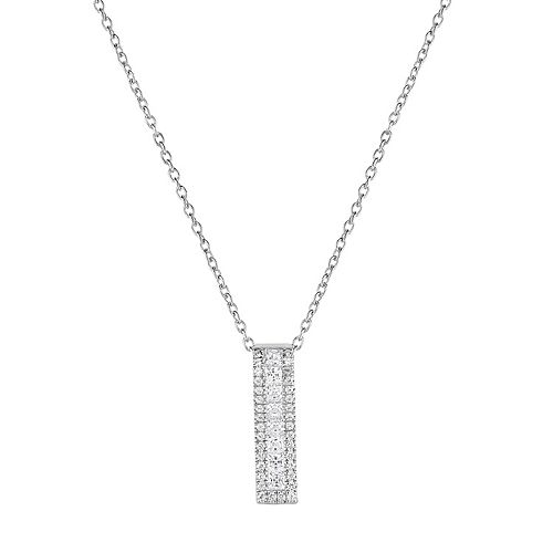 Sterling Silver Cubic Zirconia Rectangle Pendant Necklace