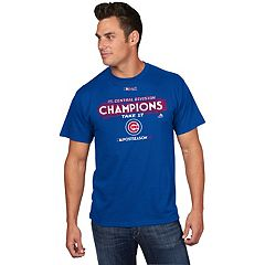 Men's Majestic Chicago Cubs 2017 NL Central Division Champs Locker Room Tee