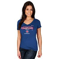 Women's Majestic Chicago Cubs 2017 NL Central Division Champs Locker Room Tee