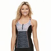 Women's ZeroXposur Colorblock 1/4-Zip Tankini Top