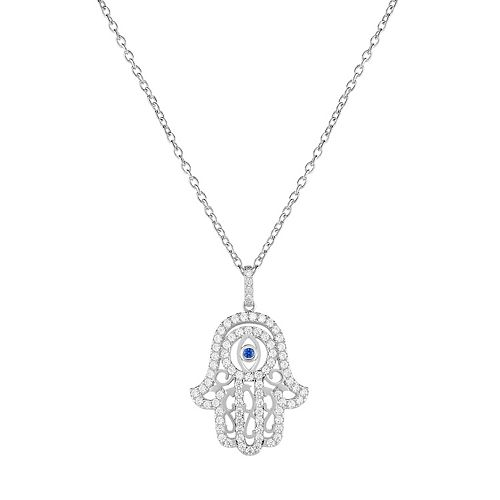 Sterling Silver Cubic Zirconia & Lab-Created Blue Spinel Hamsa Pendant