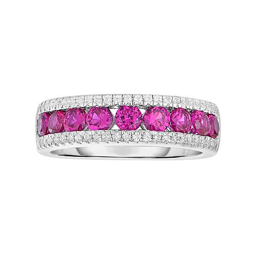 Sterling Silver Channel-Set Lab-Created Ruby Ring
