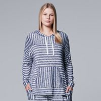 Plus Size Simply Vera Vera Wang Waking Hours Long-Sleeve Hooded Top