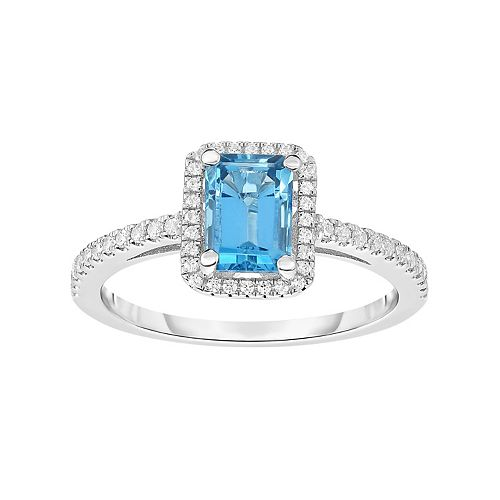 Sterling Silver Blue Topaz & Cubic Zirconia Square Halo Ring