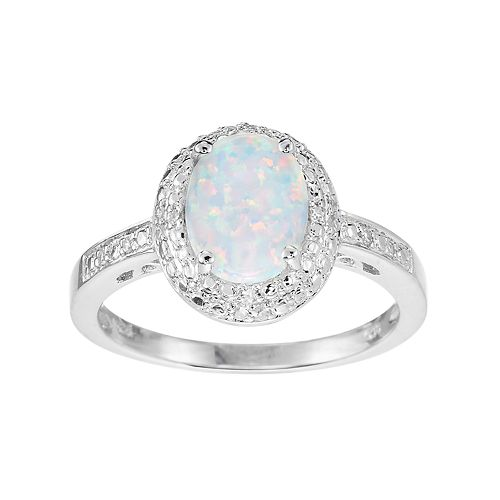 Sterling Silver Lab-Created Opal & Diamond Accent Halo Ring